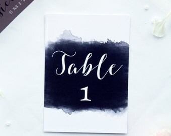 Watercolour Table Numbers, Printable Files, Custom Made, Wedding Table Cards, New by Paradise Invitations