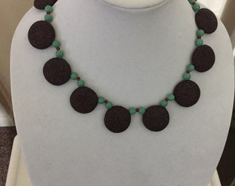 Brown lava disk necklace