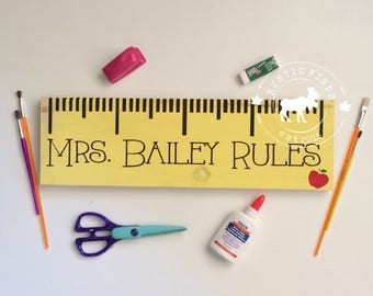 Personalized Teacher Gift // Teacher Gift // Personalized Wood Ruler