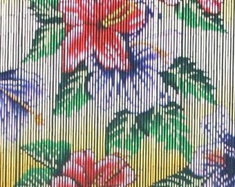 Tropical Flowers Beaded Bamboo Curtain