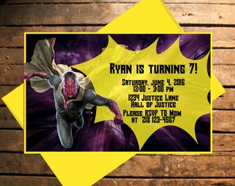 Downloadable Avengers Vision Themed Birthday Invitation