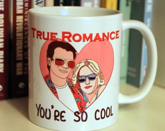 True Romance mug, Love, Romantic, Heart, Couple, Sunglasses, Film, Movie, Classic Film,