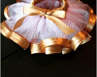 Gold and pink ribbon tutu, photo shoot tutu, birthday tutu