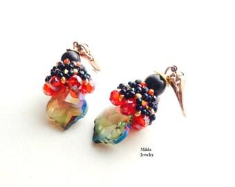 Handmade Crystal beaded earrings, beadwork jewelry, red, black glass beaded earrings, pearl earrings, dangle, drop earrings, beadweaving
