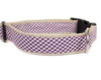 Dog collar / leash CHECK PURPLE