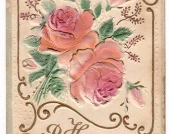 Antique 1910 heavily embossed Happy Birthday pink roses victorian postcard