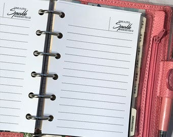 Lined Notes Planner Inserts | Pocket Size Planner | Dotted Collection