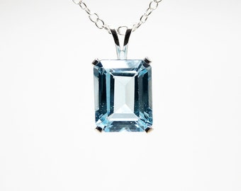 Topaz necklace, topaz jewelry, sterling silver, topaz pendant , genuine sky blue topaz necklace 10x8 mm, necklace chain