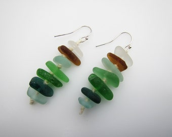 Various Colors Genuine Sea Glass Earrings with Silver Earring Hooks.