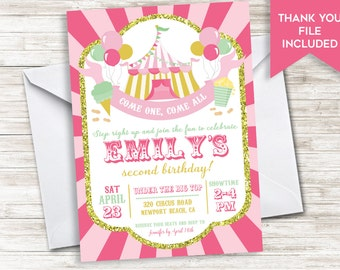 Circus Birthday Invitation Invite Carnival Girls Pink Gold Digital ANY AGE Kids 5x7 First 1st