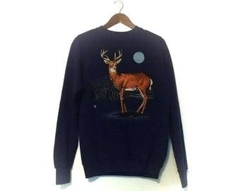 Vintage 1980s buck deer in moonlight wilderness distressed sweatshirt