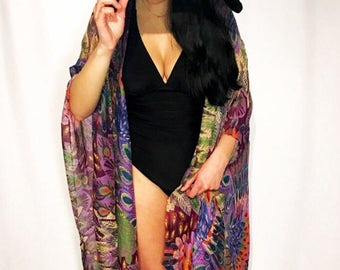 Multicolored Kimono bathing suit coverup cardigan long wrap shawl gifts for her accessories oversized gift ideas kaftan bikini sheer