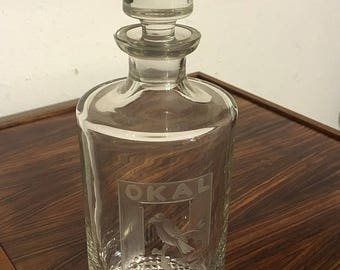 50s Okal whiskey decanter made of lead glass