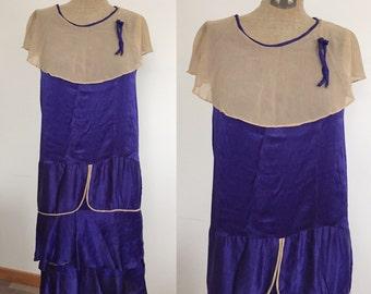 1920s Deep Purple Silk Ruffled Flapper Dress / 1920s dress / 1920s ruffled dress / purple flapper dress / 1920s dress / extra small XS Small