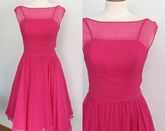 1960s hot pink chiffon party dress / 60s dress / vintage pink party dress / Valentine's Day dress / small S medium M