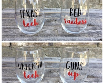 Texas Tech Wine Glasses // Stemless Wine Glasses Set of 4 // Red Raiders // Wreck'Em Tech // Guns Up // College Wine Glasses