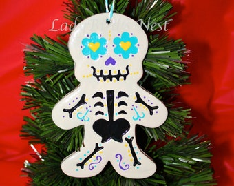Gingerbread Skeleton Ornament, Day of the Dead, Holiday Decor