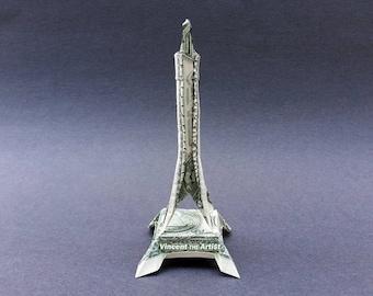 EIFFEL TOWER Money Origami Dollar Bill Paris Cash Sculptors Bank Note Handmade Dinero