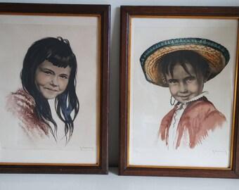 "Lot of 2 lithographs "" Children portraits"" by Roger Hebbelinck (1912-1987)"