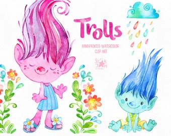 Trolls. Watercolor clip art, cute characters, Poppy, dolls, happy, creatures, stickers, magic, flowers, floral, hair, kids, fairy tail, fun