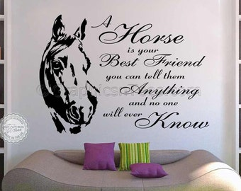 Horse Wall Sticker, Equestrian Quote, A Horse is Your Best Friend, Vinyl Mural Decal