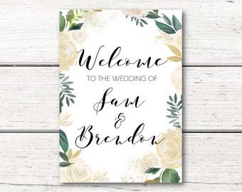Printable Wedding Welcome Sign - White Aubrey Floral Wreath - Mint, Peach, Gold, Glitter - DIY - DESIGN 109
