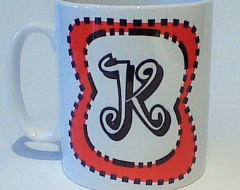Monogram mug K free message on base by Tattoo Mug Dr Seuss inspired any letter you choose