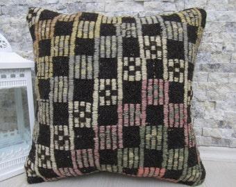 "Handwoven Vintage kilim Rug Kilim Cushion 16"" x 16"" Made of kilim pillow Boho Pillow Kilim Aztec Pillow Decorative Ethnic Pillow Case"
