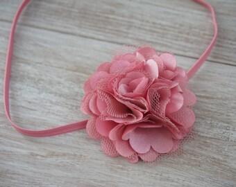 Mauve Skinny Elastic Flower Headband