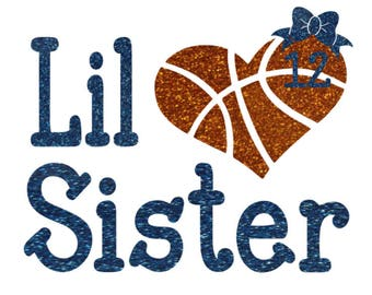 Basketball Little Sister Heart Shirt Personalized With Number