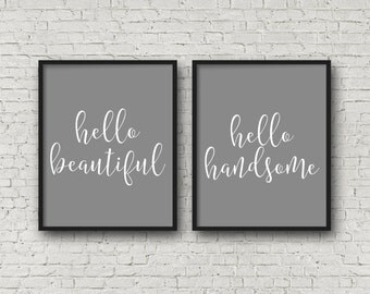 Hello Beautiful, Hello Handsome, Love Art, Romantic Gifts, Wedding Decor, Hello Sign, Love Decor, Love Sign, Romantic Gifts, Typography Art