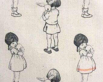 Vintage Style Children Oil cloth, Sepia, Pebcil Drawing Best Friends