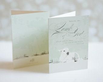 Religious Christmas Card Set - Lamb of God - Christmas Greetings - Folded Christmas Cards - Illustrated Bible Verse John 1:29