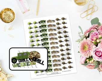 Printable Military Drill Weekend Deployment Planner Stickers for MAMBI Happy Planner ECLP Filofax