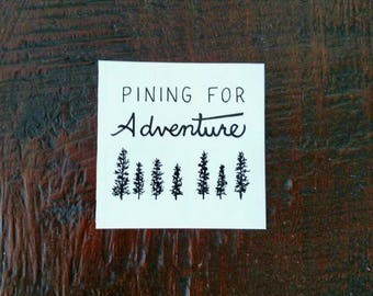 Pining for Adventure Laptop Sticker - Mountain and Tree Vinyl Bumper Sticker