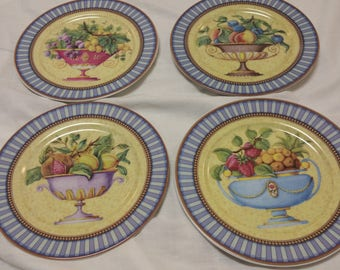 I.Godinger, 4 Salad Plates,Dessert Plates,Appetizer Plates,Cheese and Fruit Plates,Made in France,Mothers Day Gift,Shower Gift,Hostess Gift
