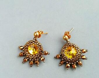 Handmade earrings, Beaded Swarovski earrings, Rivoli Crystal Earrings, Crystal earrings, yellow earrings, beaded earrings