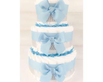Diaper Cake - Diaper Cake For Boys - Boy Diaper Cake - Boy Baby Shower - Baby Shower Centerpiece - Personalized Diaper Cake