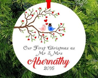 Our First Christmas as Mr & Mrs Ornament | Personalized Newlywed Gift | Lovebirds Ornament Couples Gift | Gift under 20 | CO-LBMM-2