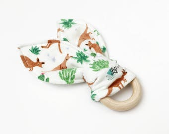 Teething ring-Organic-Baby teething ring-Teething toy-Wooden teething ring-Bunny ear Teether-Wooden teether-Natural-Unique baby gift-Cactus