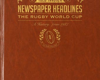 Personalised Rugby World Cup Book - Brown Leatherette - Without Embossing on Front Cover