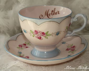 Tuscan, England: ''Mother'' hand painted pink tea cup and saucer