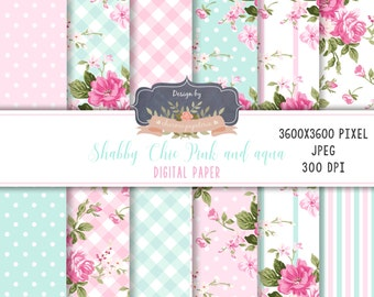 Pink and aqua digital paper, shabby chic digital paper pack, shabby chic aqua and pink, floral pink and aqua, floral pattern pink and aqua