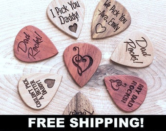 Free Shipping, Personalized Guitar Picks, Custom Guitar Pick, One Custom Pick, Custom Engraved Guitar Pick, Wood Guitar Picks, Gift for Dad