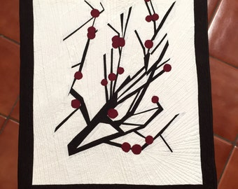 Hand Made Berries and Branches Wall Art Quilt Modern Contemporary Abstract Nature Branches Brown Winter