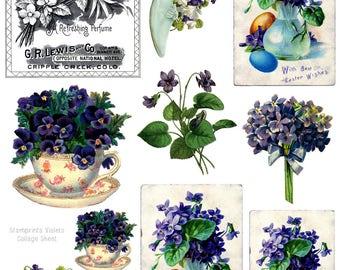 Digital Collage Sheet - Violets CS-09 (by Stamprints). Printable Vintage Images. Paper Crafts. Altered Art. Mixed Media