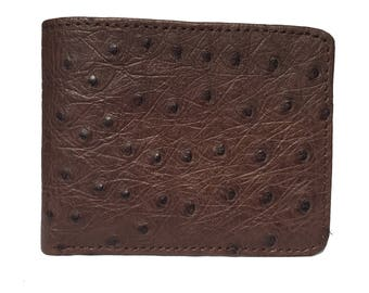 Mens Ostrich Wallet in Kango Tabac