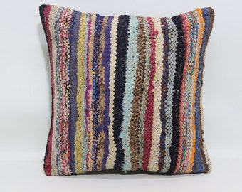 20x20 Multicolor Kilim Pillow Bed Pillow Throw Pillow 20x20 Turkish Striped Kilim Pillow Fllor Pillow Sofa Pillow Cushion Cover SP5050-1130