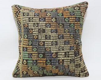 20x20 Naturel Embroidered Kilim Pillow Cushion Cover 20x20 Turkish Kilim Pillow Home Decor Ethnic Pillow Cushion Cover P5050-1535