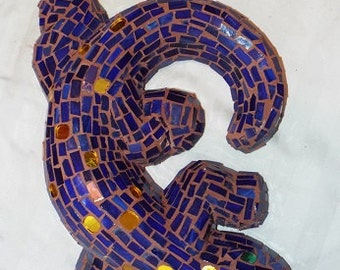 Stained glass mosaic garden statue